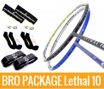 Bro Package Lethal 10: Apacs Lethal 10 Blue & Lethal 10 Yellow Grey + 2 pieces Karakal grips + 2 Velvet covers + 2 pairs socks