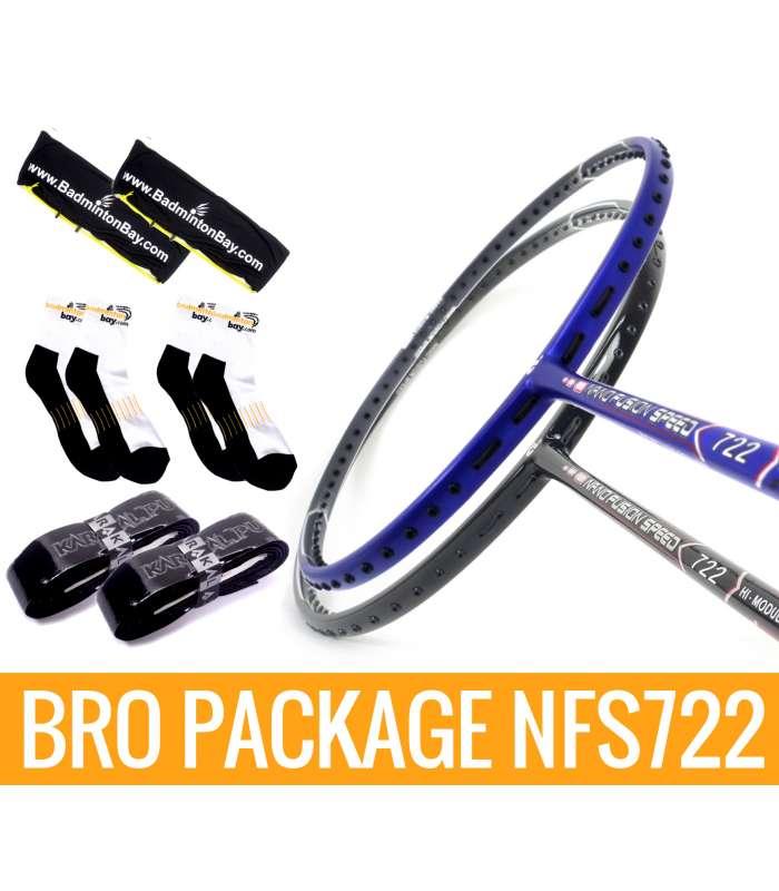 Bro Package NFS722: Apacs Nano Fusion 722 Black & Apacs Nano Fusion 722 Blue + 2 pieces Karakal grips + 2 Velvet covers + 2 pairs socks