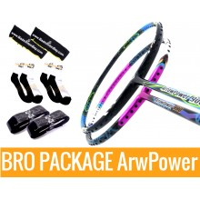 Bro Package ARROW POWER: Victor Arrow Power 9000 (3U-G5) + Victor Arrow Power 990 (4U-G5) + 2 pieces Karakal grips + 2 Velvet covers + 2 pairs socks