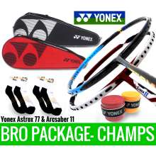 Bro Package CHAMPS: Yonex Astrox 77 Blue + Yonex Arcsaber 11 Metallic Red Badminton Racket + 2 Yonex SUNR-120L Covers + 2 pieces Yonex AC102 Overgrips + 2 pairs socks