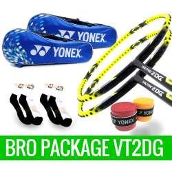 Bro Package VT2DG: 2 Yonex Voltric 2DG Badminton Racket + 2 Yonex SUNR-1002BPRM Blue Bag + 2 pieces Yonex AC102 Overgrips + 2 pairs socks