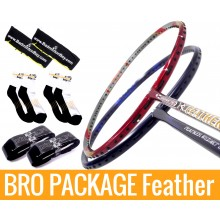 Bro Package Feather Weight: Apacs Feather Weight 200 + Apacs Feather Weight 500 + 2 pieces Karakal grips + 2 Velvet covers + 2 pairs socks