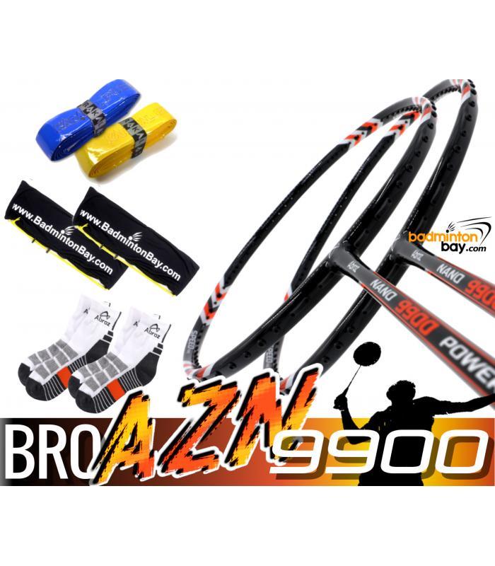 Bro Package AZN9900: 2x Abroz Nano 9900 Power (5U) Badminton Racket + 2 pcs Karakal Grips + 2 Velvet Bags + 2 pairs socks