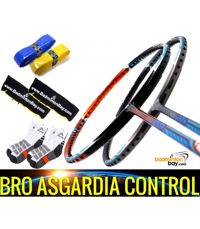 Bro Package Asgardia Control : 2 pieces Apacs Asgardia Control Badminton Racket + 2 pcs Karakal Grips + 2 Single Bags + 2 pairs socks