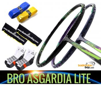 Bro Package Asgardia Lite : 2 pieces Apacs Asgardia Lite Badminton Racket + 2 pcs Karakal Grips + 2 Single Bags + 2 pairs socks