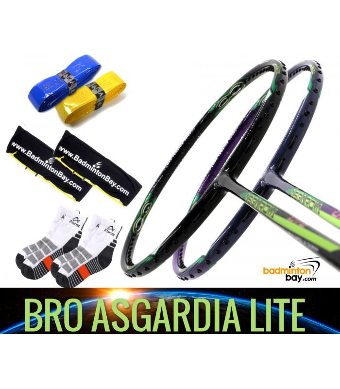 Bro Package Asgardia Lite : 2 pieces Apacs Asgardia Lite Badminton Racket + 2 pcs Karakal Grips + 2 Single Bags + 2 pairs socks