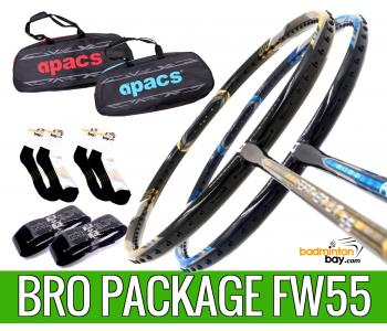 Bro Package FW55 : 2 pieces Apacs Feather Weight 55 8U Worlds Lightest Badminton Racket + 2 pcs Karakal Grips + 2 Single Bags + 2 pairs socks