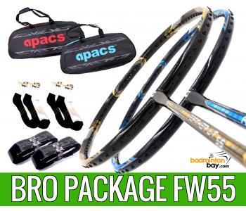 Bro Package FW55 : 2 pieces Apacs Feather Weight 55 8U Worlds Lightest Badminton Racket + 2 pcs Karakal Grips + 2 Single Bags + 2 pairs socks