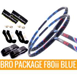 Bro Package F80ii BLUE: 2 pieces  Apacs Force 80ii BLUE + 2 pieces Karakal grips + 2 Velvet covers + 2 pairs socks