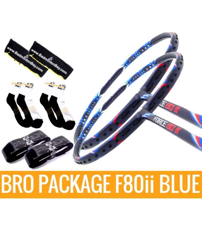 Bro Package F80ii BLUE: 2 pieces  Apacs Force 80ii BLUE + 2 pieces Karakal grips + 2 Velvet covers + 2 pairs socks