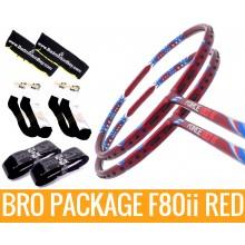 Bro Package F80ii RED: 2 pieces  Apacs Force 80ii RED + 2 pieces Karakal grips + 2 Velvet covers + 2 pairs socks