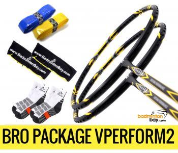 Bro Package VPERFORM2 : 2 pieces Apacs Virtuoso Performance Black 3U Badminton Racket + 2 pcs Karakal Grips + 2 Single Bags + 2 pairs socks