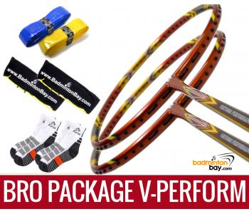 Bro Package V-PERFORM: 2 pieces Apacs Virtuoso Performance 3U Badminton Racket + 2 pieces Karakal Grips + 2 AP2520 bags (Black White) + 2 pairs socks