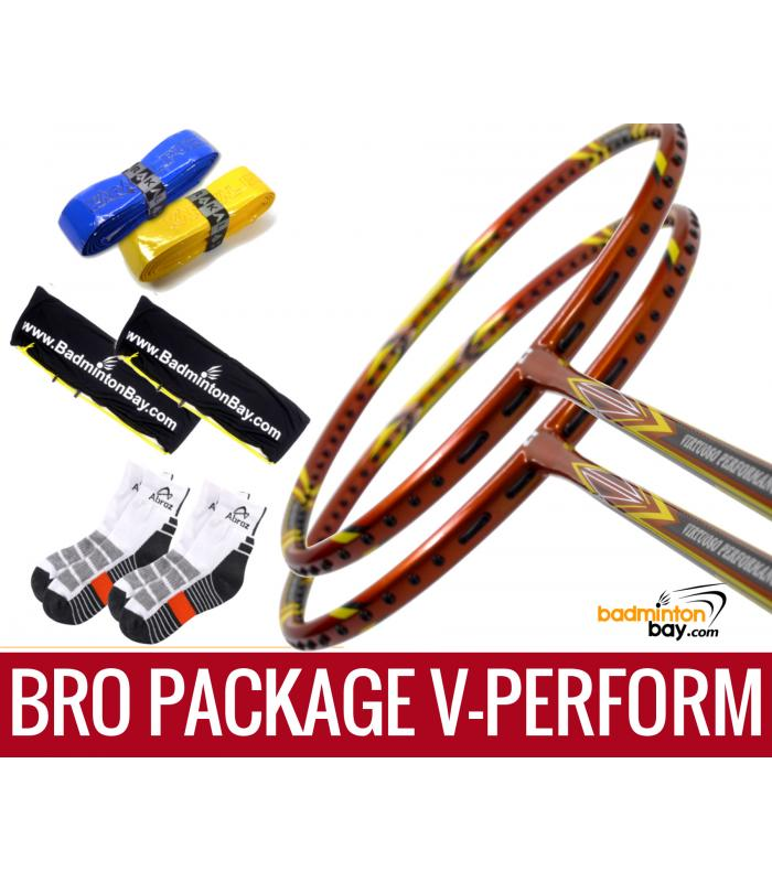 Bro Package V-PERFORM: 2 pieces Apacs Virtuoso Performance 3U Badminton Racket + 2 pieces Karakal Grips + 2 AP2520 bags (Red and Blue) + 2 pairs socks
