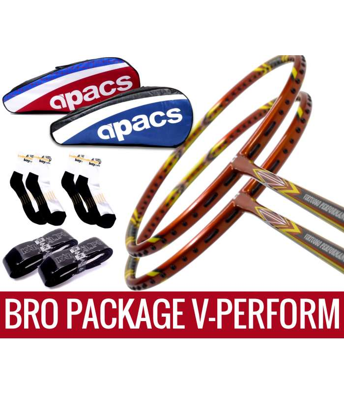 Bro Package V-PERFORM: 2 pieces Apacs Virtuoso Performance 3U Badminton Racket + 2 pieces Karakal Grips + 2 AP2520 bags (Red and Blue) + 2 pairs socks