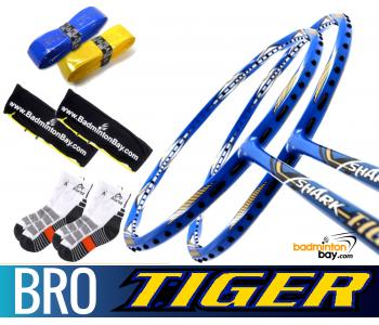 Bro Package SHARK TIGER: 2x Abroz Shark Tiger Badminton Racket + 2 pcs Karakal Grips + 2 Single Bags + 2 pairs socks