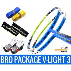 Bro Package V-LIGHT III: 2 pieces Apacs Virtuoso Light BLUE GREEN + 2 pieces Karakal grips + 2 Velvet covers + 2 pairs socks