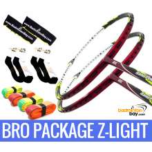 Bro Package Z-LIGHT: 2 pieces Abroz Nano Power Z-Light 6U Badminton Racket + 4 pieces Abroz PU210 + 2 Velvet covers + 2 pairs socks