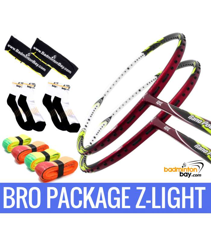 Bro Package Z-LIGHT: 2 pieces Abroz Nano Power Z-Light 6U Badminton Racket + 4 pieces Abroz PU210 + 2 Velvet covers + 2 pairs socks