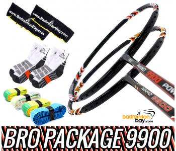 Bro Package 9900: Apacs Nano 9900 (4U) + Abroz Nano 9900 Power (5U) Badminton Rackets + 4 pieces Abroz PU Grips + 2 Velvet covers + 2 pairs socks