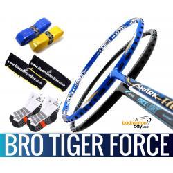 Bro Package TIGER FORCE: Abroz Shark Tiger + Abroz Nano Power Force Light Badminton Racket + 2 pcs Karakal Grips + 2 Velvet Bags + 2 pairs socks
