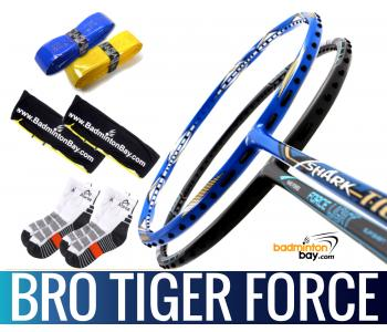 Bro Package TIGER FORCE: Abroz Shark Tiger + Abroz Nano Power Force Light Badminton Racket + 2 pcs Karakal Grips + 2 Velvet Bags + 2 pairs socks