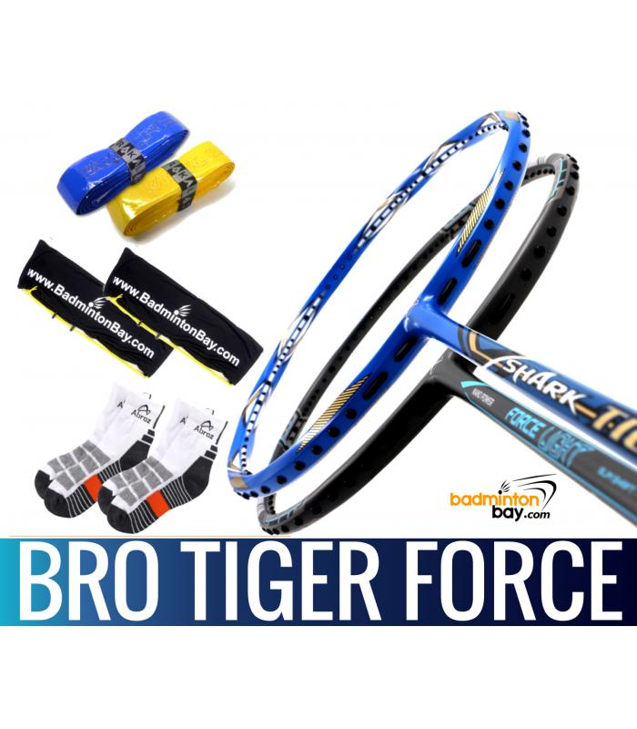 Bro Package TIGER FORCE: Abroz Shark Tiger + Abroz Nano Power Force Light Badminton Racket + 2 pcs Karakal Grips + 2 Single Bags + 2 pairs socks