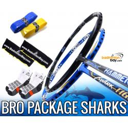 Bro Package SHARKS: Abroz Shark Tiger + Abroz Shark Hammerhead Badminton Racket + 2 pcs Karakal Grips + 2 Velvet Bags + 2 pairs socks