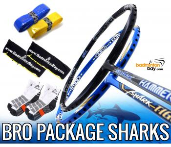 Bro Package SHARKS: Abroz Shark Tiger + Abroz Shark Hammerhead Badminton Racket + 2 pcs Karakal Grips + 2 Single Bags + 2 pairs socks