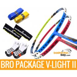 Bro Package V-LIGHT II: Apacs Virtuoso Light RED & Apacs Virtuoso Light BLUE GREEN + 2 pieces Karakal grips + 2 Velvet covers + 2 pairs socks