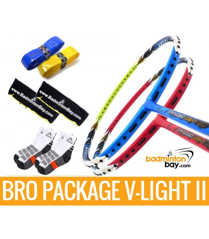 Bro Package V-LIGHT II: Apacs Virtuoso Light RED & Apacs Virtuoso Light BLUE GREEN + 2 pieces Karakal grips + 2 Velvet covers + 2 pairs socks