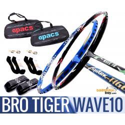 Bro Package TIGER WAVE10: Abroz Shark Tiger + Apacs WAVE 10 Badminton Racket + 2 pcs Karakal Grips + 2 Single Bags + 2 pairs socks