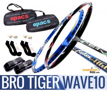 Bro Package TIGER WAVE10: Abroz Shark Tiger + Apacs WAVE 10 Badminton Racket + 2 pcs Karakal Grips + 2 Single Bags + 2 pairs socks