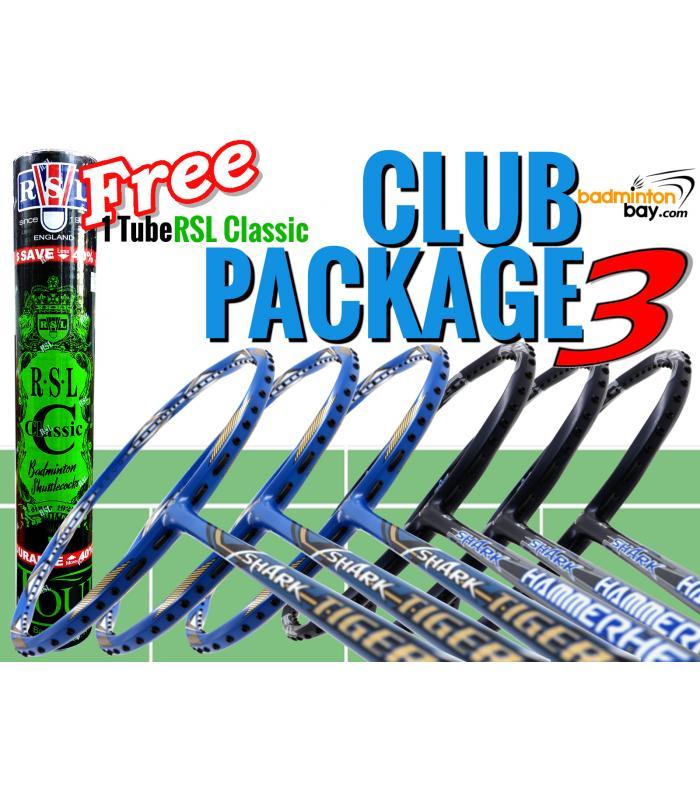 Club Package 3 : 6 Rackets - 3x Abroz Shark Tiger +  3x Abroz Shark Hammerhead Badminton Racket + FREE 1 Tube RSL Classic Shuttlecocks