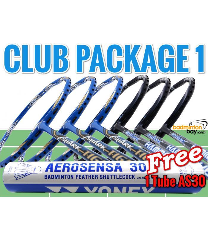 Club Package 1 : 6 Rackets - 3x Abroz Shark Tiger +  3x Abroz Shark Hammerhead Badminton Racket + FREE 1 Tube Yonex AS30 Shuttlecocks