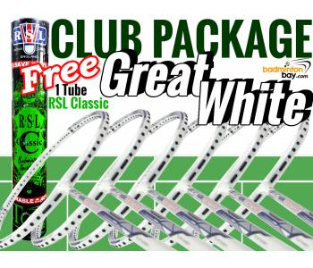 Club Package 3 : 6 Rackets - 6x Abroz Shark Great White Badminton Racket + Free 1 Tube RSL Classic Shuttlecocks