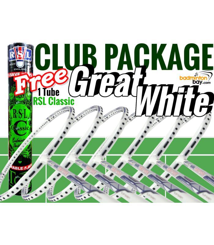 Club Package 3 : 6 Rackets - 6x Abroz Shark Great White Badminton Racket + Free 1 Tube RSL Classic Shuttlecocks