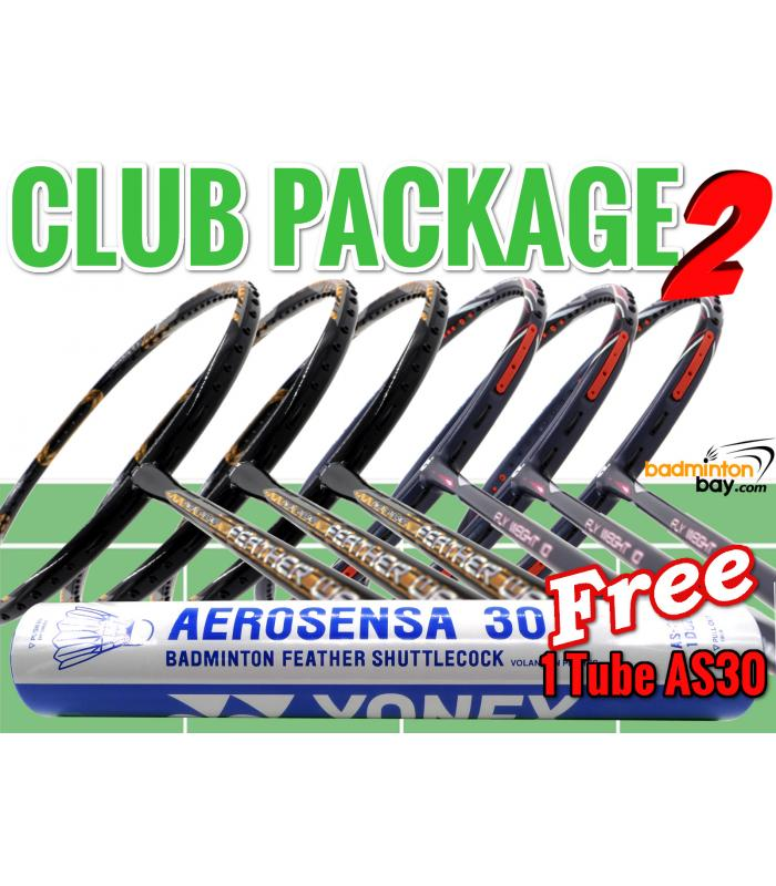 Club Package 2: 6 Rackets - 3x Apacs Feather Weight X Special (XS) +  3x Apacs Flyweight 10 Badminton Racket + FREE 1 Tube Yonex AS30 Shuttlecocks
