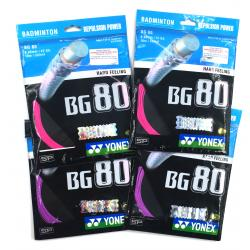 4 pieces Yonex BG80 Badminton String (Color : 2 in Violet & 2 in Neon Pink)