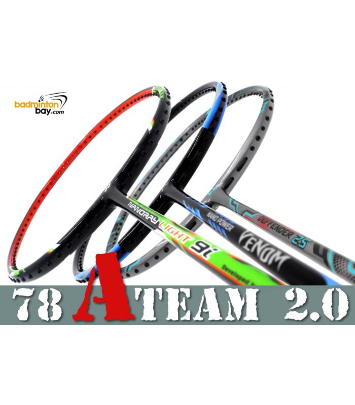 78 A-TEAM 2.0 Bundling (3 Rackets): 1x Yonex Nanoray Light 9i iSeries 5U-G5, 1x Abroz Nano Power Venom 6U & 1x Apacs Deffender 25 Grey  6U