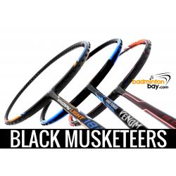 Black Musketeers : 1x Abroz Nano Power Venom, 1x Yonex Nanoray Light 18i, 1x Apacs ZigZag Speed 3 Badminton Rackets