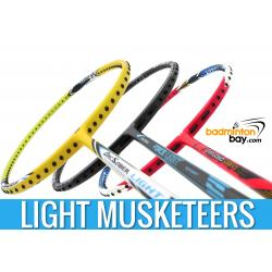 Light Musketeers : 1x Abroz Nano Power Force Light, 1x Yonex Arcsaber Light 10i, 1x Apacs Virtuoso Light Red Badminton Rackets
