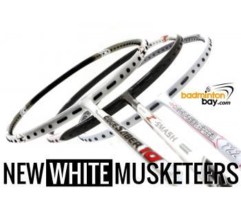 New WHITE Musketeers : 1x Abroz NP Z-Smash, 1x Apacs NFS 722 White ,1x Apacs Edgesaber 10 White Badminton Rackets