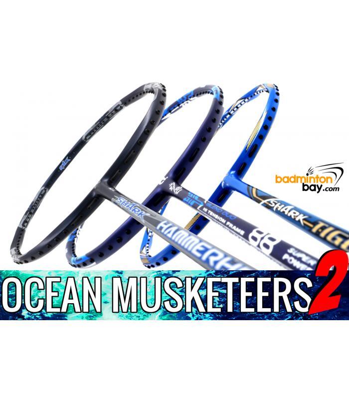 Ocean Musketeers 2 : 1x Abroz Shark Hammerhead (6U), 1x Abroz Shark Tiger (6U) & 1x Apacs Blend Duo 88 Navy (6U) Badminton Racket