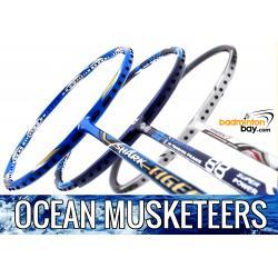 Ocean Musketeers : 1x Abroz Shark Tiger (6U), 1x Apacs Blend Duo 88 Navy (6U) 1x Yonex Nanoray 7 Cool White (4U-G5) Badminton Racket