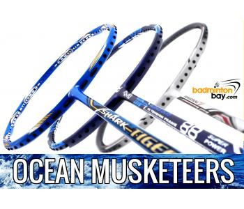 Ocean Musketeers : 1x Abroz Shark Tiger (6U), 1x Apacs Blend Duo 88 Navy (6U) 1x Yonex Nanoray 7 Cool White (4U-G5) Badminton Racket