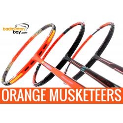 Orange Musketeers : 1x Apacs Z Vanguard II , 1x Flex Power Nano Tec Z Speed,  1x Apacs Zig Zag Speed III Orange Badminton Rackets