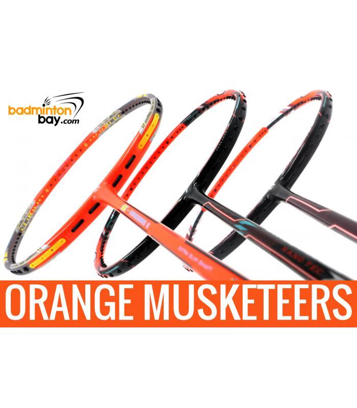Orange Musketeers : 1x Apacs Z Vanguard II , 1x Flex Power Nano Tec Z Speed,  1x Apacs Zig Zag Speed III Orange Badminton Rackets