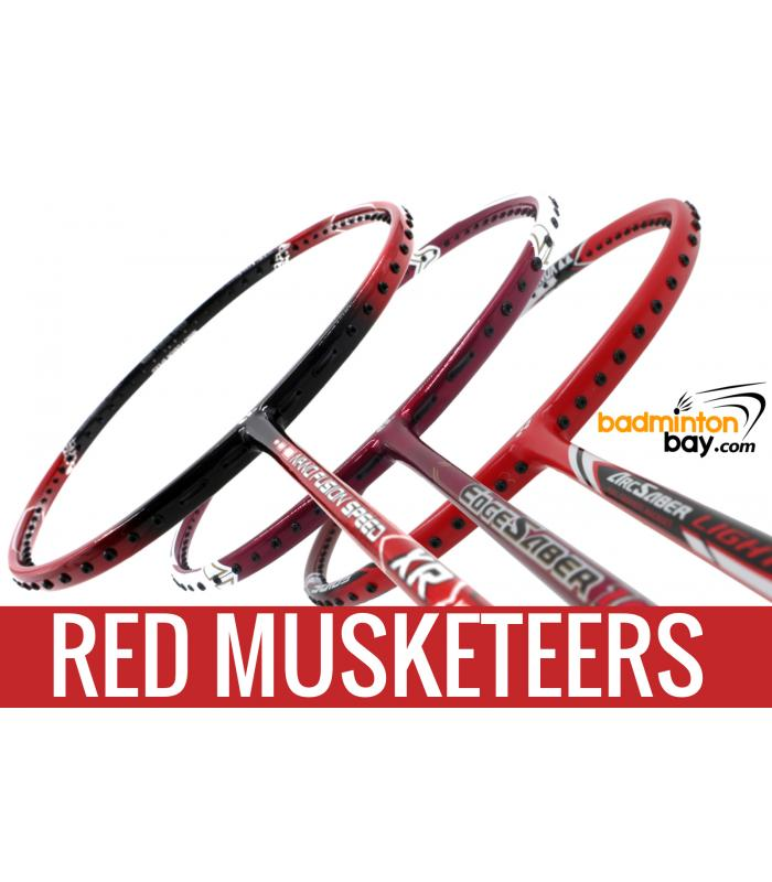 Red Musketeers : 1x Yonex - Arcsaber Light 15i iSeries, 1x Apacs Nano Fusion Speed XR,  1x Apacs Edgesaber 10 Red Badminton Rackets