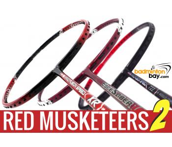 Red Musketeers 2 : 1x Apacs Nano Fusion 722 Speed Red, 1x Apacs Nano Fusion Speed XR,  1x Apacs Edgesaber 10 Red Badminton Rackets